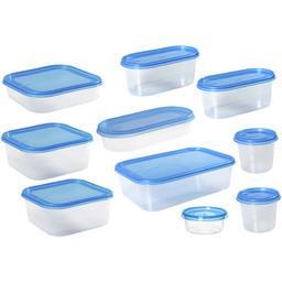 Lot de 10 boites avec couvercles bleus tailles assorties