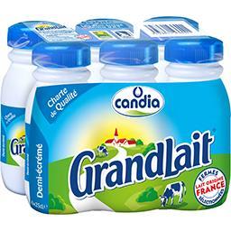 Candia Candia Grandlait - Lait demi-écrémé, stérilisé UHT les 6 bouteilles de 25cl