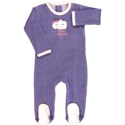 Dors bien velours fille 12 mois violet