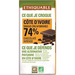 Ethiquable Ethiquable Chocolat noir 74% Côte d'Ivoire BIO la tablette de 100 g