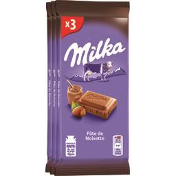 Milka Milka Chocolat au lait pâte de noisette les 3 tablettes de 100 g