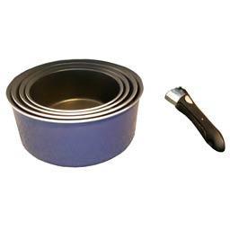 Ingenio, set 5 pièces, casseroles D14cm, D16cm, D18cm, D20cm et poignée amovible, extérieur émail, tous feux sauf induct