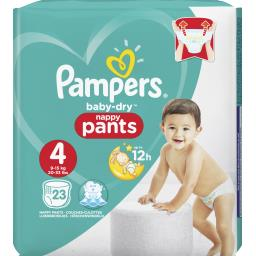 Pampers Pampers Baby-dry pants couches-culottes, faciles à enfiler t4 Le paquet de 23