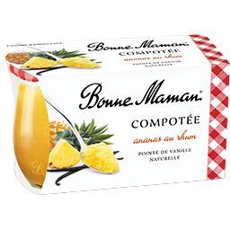 Bonne Maman Bonne Maman Compotée ananas au rhum pointe de vanille naturelle les 2 pots de 130 g