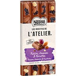 Nestlé Nestlé Grand Chocolat Les Recettes de l'Atelier - Chocolat au lait raisins amandes la tablette de 170 g