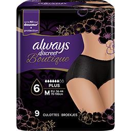 Always Always Discreet Boutique, culottes pour fuites urinaires Le paquet de 9 culottes noires, taille M