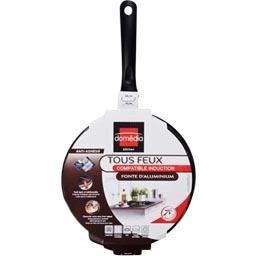 Sauteuse fonte d'alu, tous feux compatible induction, anti-adhésif, D24cm + couvercle