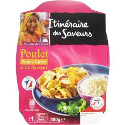 Poulet sauce curry et riz basmati, saveur de l'Inde