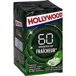 Hollywood Hollywood 60 min de Fraîcheur - Chewing-gum menthe verte sans sucres les 3 boites de 10 dragées - 60 g