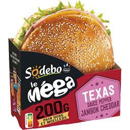 Sandwich Le Méga Bun Texas jambon cheddar sauce Pepp...