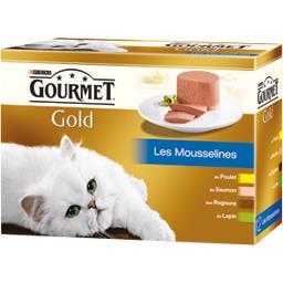 Gourmet Gourmet Gold - Les Mousselines poulet/saumon/rognons/lapin pour chats les 12 boites de 85 g