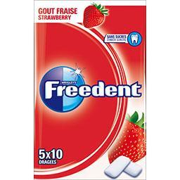 Freedent Freedent Chewing-gum goût fraise sans sucres les 5 paquets de 10 dragées - 70 g