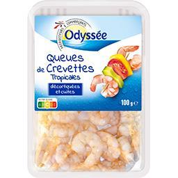 Queues de crevettes tropicales décortiquées et cuite...