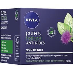 Nivea Nivea Pure & Natural - Soin de nuit anti-rides le pot de 50 ml