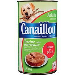 Terrine avec morceaux riche en bœuf pour chien adult...