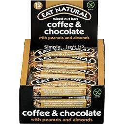 Barre café & chocolat avec des cacahuètes et des amandes