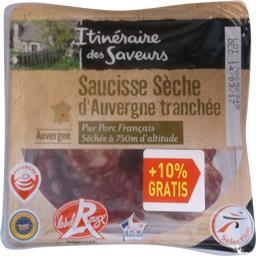 Itinéraire des Saveurs Saucisse sèche d'Auvergne tranchée Label Rouge les 2 barquettes de 150 g