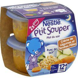 P'tit Souper - Plat du soir crème de légumes tendres pâtes, 12+ mois