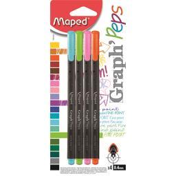 Graph'Peps - Feutres d'écriture 0,4 mm 4 couleurs