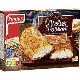 Findus Findus L'atelier Poisson Colin d'Alaska extra croustillant la boite de 2 - 250 g