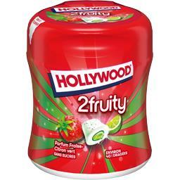 Hollywood Hollywood 2Fruity - Chewing-gum framboise fraise-citron vert s/sucres la boite de 88 g