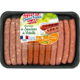Assortiment de saucisses de volaille