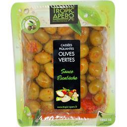 Olives vertes cassées piquantes sauce escabèche