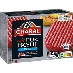 Charal Charal Steaks hachés Le Pur Bœuf 5% MG les 4 steaks de 100 g