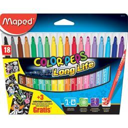 Maped Feutre Color'Peps Long Life la pochette de 18 + 3 coloriages