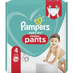 Pampers Pampers Couches-culottes baby-dry pants taille 4, 9-15kg Le paquet de 24 couches