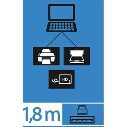 Câble USB 3,0 A/mâle B, 1,8 m
