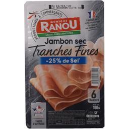 Jambon sec tranches fines sel réduit