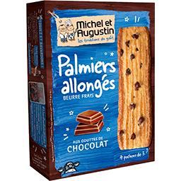 Palmiers allongés aux gouttes de chocolat