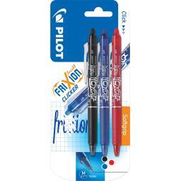 Frixion Ball - Clicker Softgrip noir bleu rouge