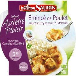 Emincé de poulet sauce curry et son riz basmati