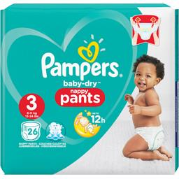 Pampers Pampers Couches-culottes baby-dry pants faciles à enfiler t3 Le paquet de 26