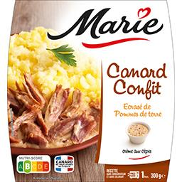 Canard confit écrasé de pommes de terre avec crème a...
