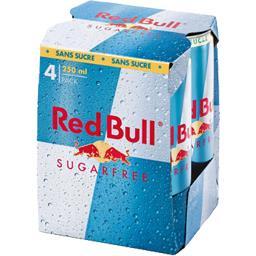 Red Bull Red Bull Boisson énergisante à base de taurine caféine sans sucres les 4 boites de 250 ml