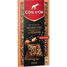 Chocolat noir éclats de noisettes caramélisées et de...