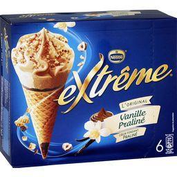 Nestlé Extrême L'Original - Cônes vanille praliné la boite de 6 - 426 g