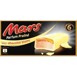 Mars Mars Barres glacées parfum praliné enrobage saveur chocolat blanc les 6 barres de 41,1 ml