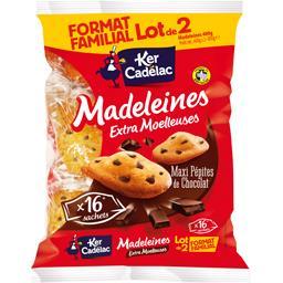 Ker Cadelac Madeleines Maxi Pépites de chocolat le lot de 2 paquets de 400 g -