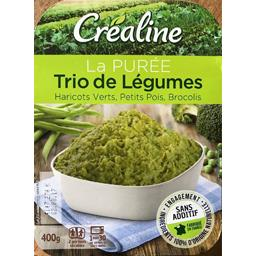 Créaline Créaline La Purée Trio de légumes haricots verts/petits pois/brocolis la barquette de 400 g