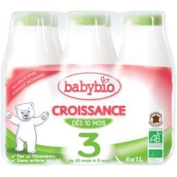 Croissance - Lait de suite liquide 3 BIO, de 10 mois...