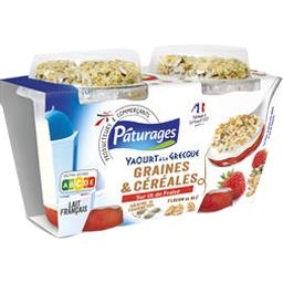 Yaourt à la Grecque graines & céréales sur lit de fraise