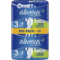 Always Always Ultra night (t3) serviettes hygiéniques ailettes Le pack de 20 serviettes