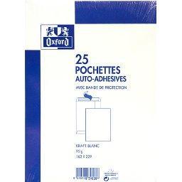 Oxford Oxford Pochettes auto-adhésives avec bande de protection, kraft blanc, 162 x 229mm le paquet de 25
