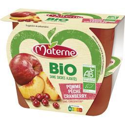 Materne Materne BIO - Spécialité de fruits pomme pêche Cranberry BIO les 4 pots de 100 g
