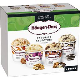 Häagen-Dazs Haagen-Dazs Mini pots crème glacée Favorite Sélection la boite de 4 pots - 318 g
