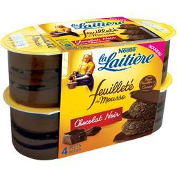 Nestlé La Laitière Feuilleté de mousse chocolat noir les 4 pots de 57 g